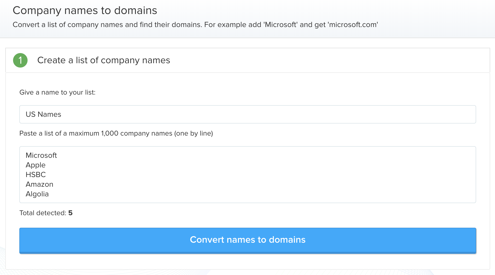 Prospecting - Convert names to domains