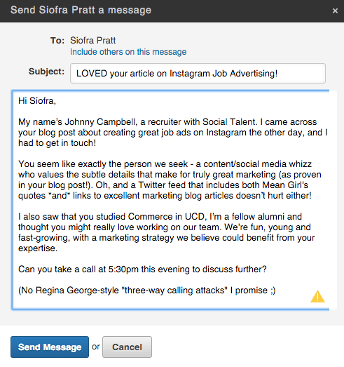 linkedin inmail templates for recruiters