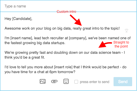 linkedin inmail templates for candidates