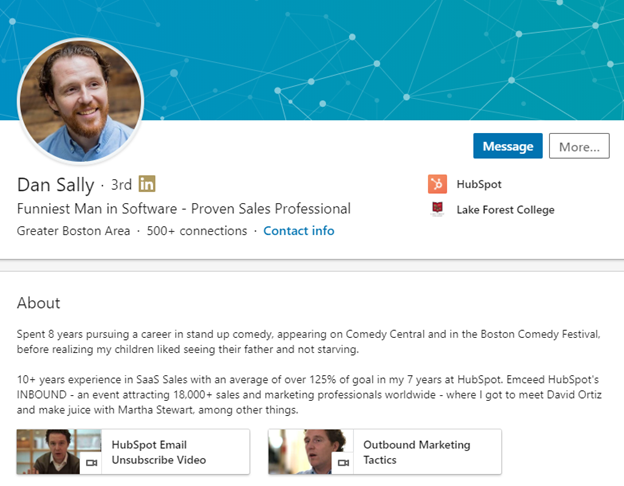 example linkedin summary