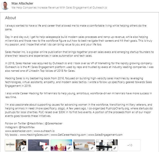 linkedin profile template