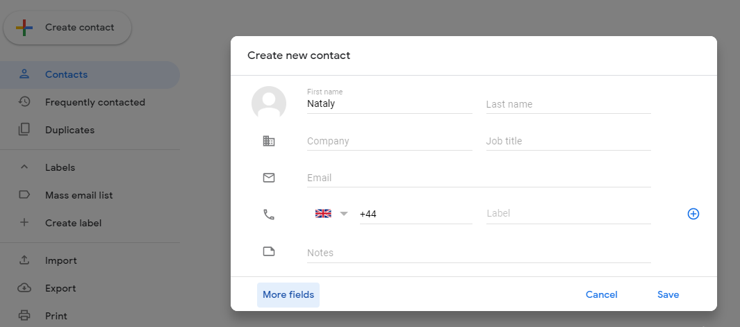 create contact group in gmail